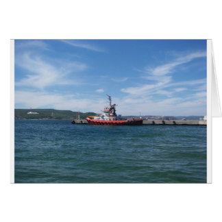 Tug In Harbor Greeting Card