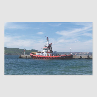 Tug In Harbor Rectangular Sticker