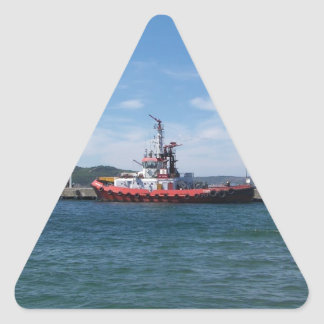 Tug In Harbor Triangle Sticker