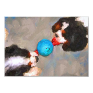 Tug of War Cavalier KC Spaniels 5x7 Mini Prints 13 Cm X 18 Cm Invitation Card