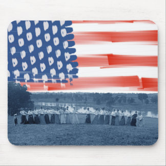 Tug of War Tug O War Women 1890's American Flag Mouse Pad