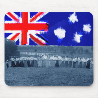 Tug of War Tug O War Women 1890's Australia Flag Mouse Pad