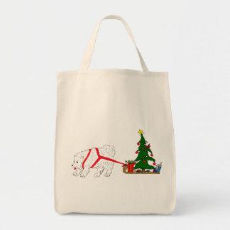 Tug the Samoyed pulling Christmas Tree