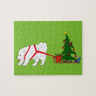 Tug the Samoyed pulling Christmas Tree Jigsaw Puzzle