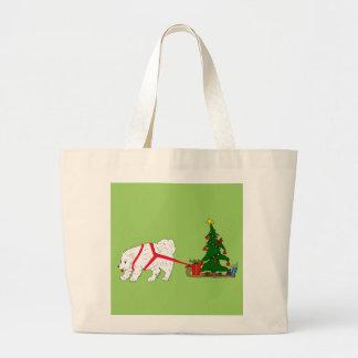 Tug the Samoyed pulling Christmas Tree Large Tote Bag