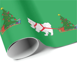 Tug the Samoyed pulling Christmas Tree Wrapping Paper