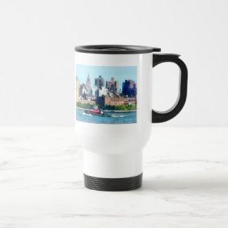Tugboat Against Manhattan Skyline Coffee Mugs