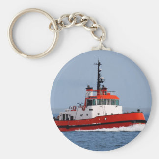 Tugboat at Speed Basic Round Button Key Ring