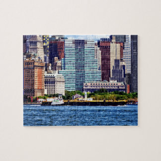 Tugboat Pushing Barge Near Manhattan Skyline Jigsaw Puzzle