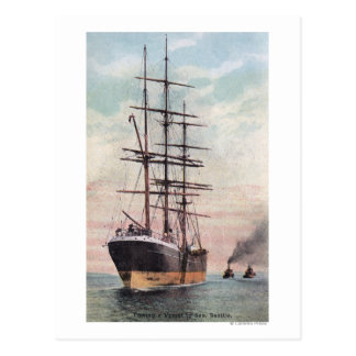 Tugboats Towing a Ship to Sea Postcard