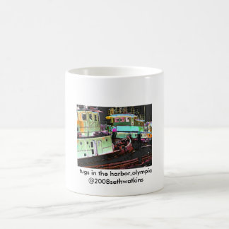 tugs in the harbor, Olympia2, tugs in the harbo... Basic White Mug