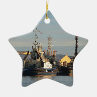 Tugs on the Swale. Ceramic Star Decoration