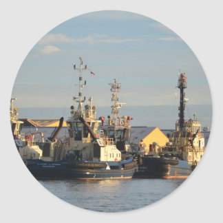 Tugs on the Swale. Round Sticker