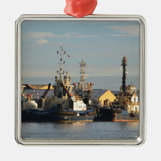 Tugs on the Swale. Silver-Colored Square Decoration