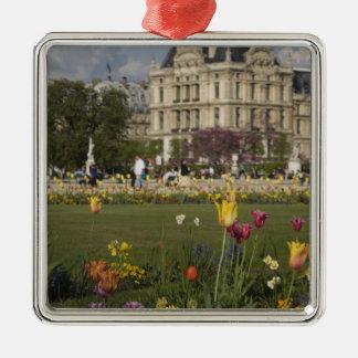 Tuileries Garden, Louvre, Paris, France Silver-Colored Square Decoration