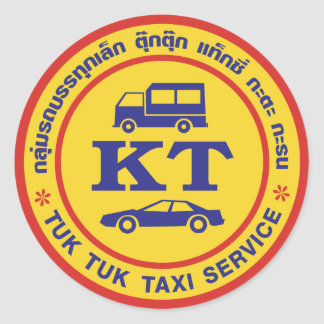 Tuk Tuk Taxi Service Sign, Thailand Classic Round Sticker
