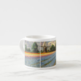 Tulip and Hyacinth Spring Time Flower Landscape Espresso Cup