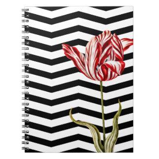 Tulip Botanical Chevron Stripes Pattern Spiral Notebook
