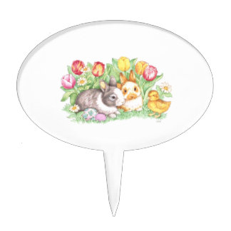 Tulip, Chick, & Easter Bunny Cake Topper Pick
