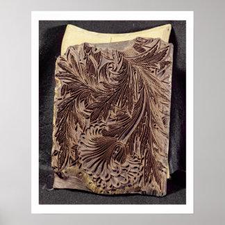 Tulip design printing block, 1875 (carved wood) poster