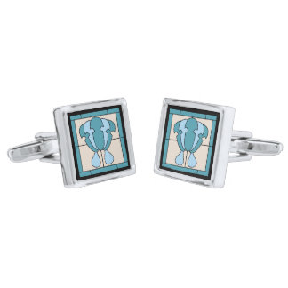 Tulip Flower Art Deco Expression Silver Finish Cufflinks