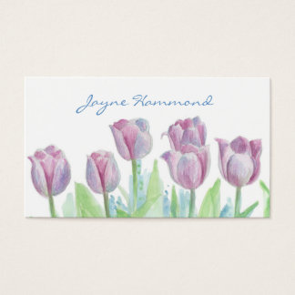 Tulip Flower Business Card Watercolour Florals