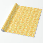 Tulip flower damask spring yellow wrapping paper