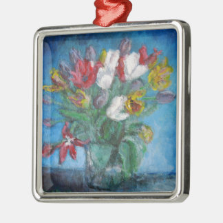 Tulip Flowers in Vase Floral Silver-Colored Square Decoration