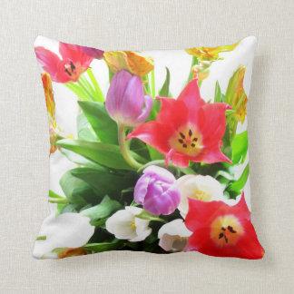 Tulip Flowers Pattern Throw Pillow