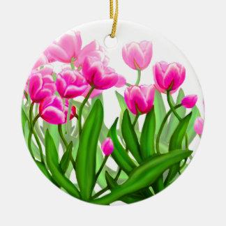 Tulip Garden in Pink Ornament