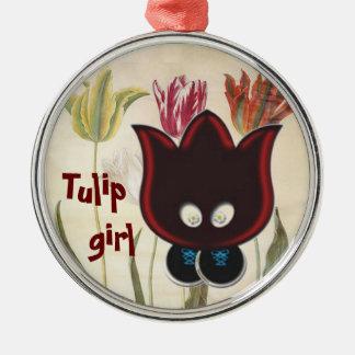Tulip Girl Silver-Colored Round Decoration