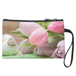 Tulip Heart Spring Easter Name Clutch Purse