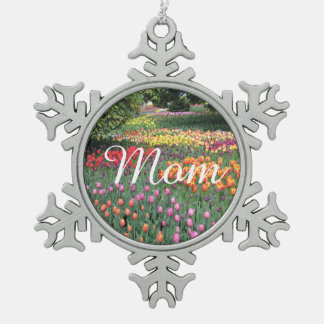 Tulip Meadow Snowflake Pewter Christmas Ornament