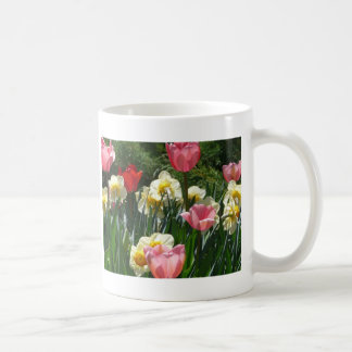 tulip,pink tulip and daffodil coffee mug