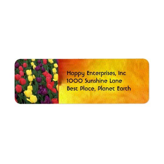 Tulip Rainbow Return Address Label
