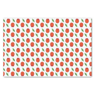 Tulip Red Orange Spring Pattern Tissue Paper
