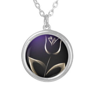 tulip silver plated necklace