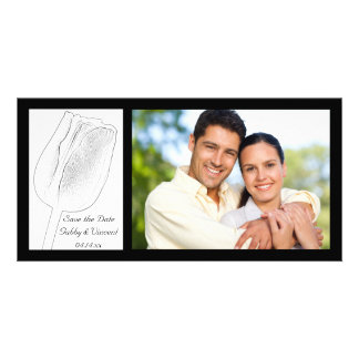 Tulip Sketch Wedding Save the Date Photo Card Template