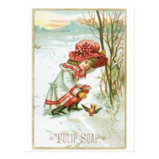 Tulip Soap Girl with Bird Postcard