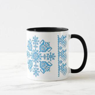 Tulip Star with Peacocks Mug (blue & black)