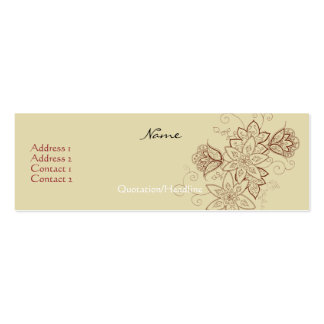 Tulip Tattoo Profile Cards (Sand) Pack Of Skinny Business Cards