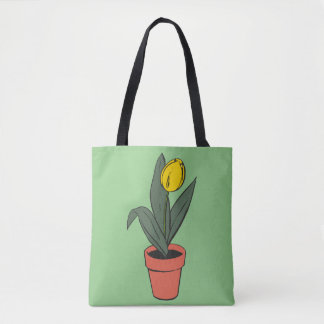 Tulip Time, Potted Flower Green Bloom Plant Tote Bag