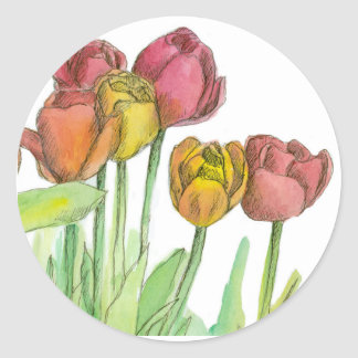 Tulip Watercolor Flowers Salmon Pink Floral Art Classic Round Sticker