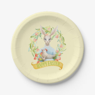 Tulip Wreath and Rabbit Happy Easter Paper Plate
