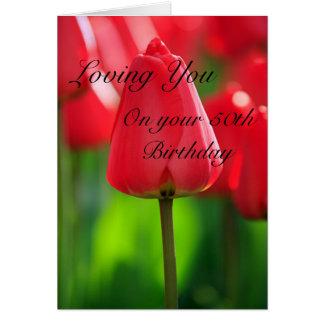Tulips 50th Birthday Card