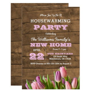 Tulips and Barnwood Housewarming Invitation