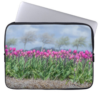 Tulips and blurred sky laptop sleeve