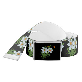 Tulips and Daffodils Flowers Black Background Belt
