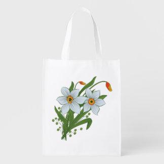 Tulips and Daffodils Flowers Reusable Grocery Bag