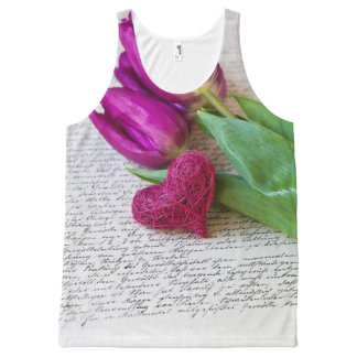 Tulips and Heart All-Over Print Tank Top